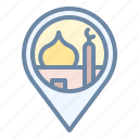 location, moslem, mosque, pin, place, pray icon