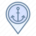 harbor, location, pin, place, port icon