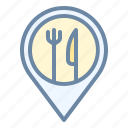 food, location, pin, place, restaurant icon