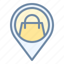 location, mall, market, pin, shop, store icon
