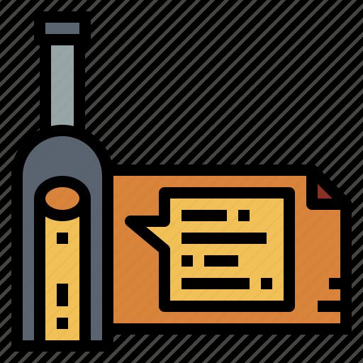 bottle, letter, paper, sea icon
