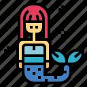 character, fantasy, life, mermaid, sea icon
