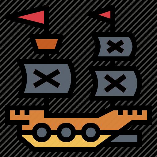 captain, pirate, ship, transport icon