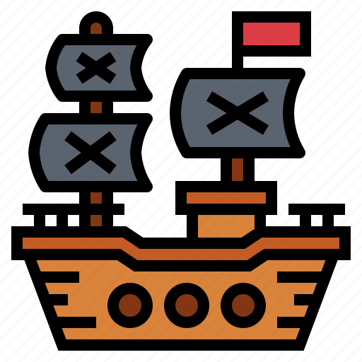 frigate, pirate, ship, shipping, transport icon