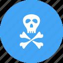 crossbones, danger, pirate, sign, skeleton, skull, wheel icon