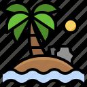 island, oasis, tropical, palm, tree, desert, nature