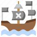 ship, pirate, cultures, frigate, antique, transportation icon