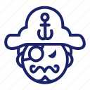 piracy, pirate, sailor, sea, set icon
