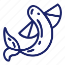 fish, flyingfish, pirate, sea, set icon