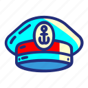 captain, captainhat, hat, pirate, set, ship icon
