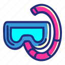 diving, divinggoggles, goggles, pirate, set icon