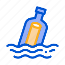 bottle, communication, message, sea, wave