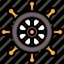 captain, pirate, rudder, sailing, ship, steering, wheel icon