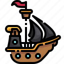boat, pirate, pirates, ship, ships, transportation icon