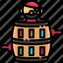 barrel, corsair, entertainment, game, male, pirate