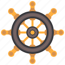 captain, pirate, rudder, sailing, ship, steering, wheel icon