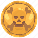 bandit, coins, currency, gold, pirate, skull icon