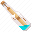 bottle, communications, letter, mail, message, paper, pirate icon