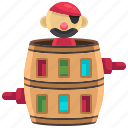 barrel, corsair, entertainment, game, male, pirate icon