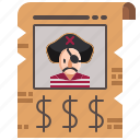 bandit, money, poster, reward, security, wanted icon