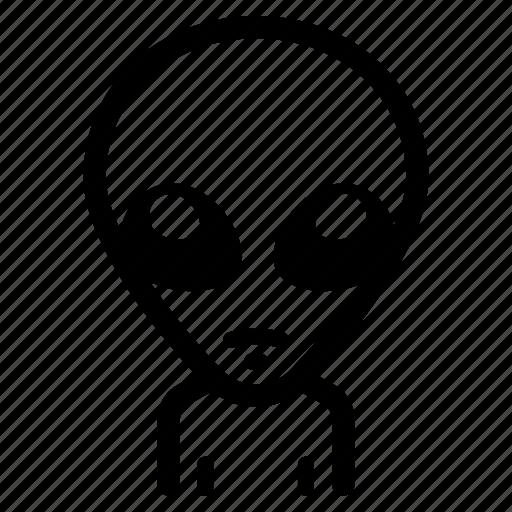 alien, et, extraterrestrial, grey, invader, visitor icon