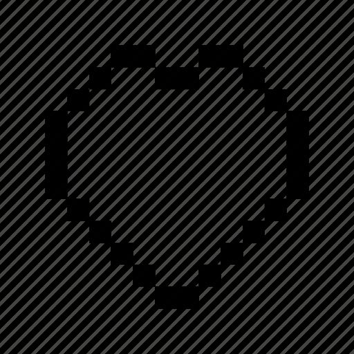 favorite, heart, love, pixels icon