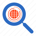 globe, magnifier, magnify, search, searching, world icon