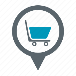 map, pin, shopping icon