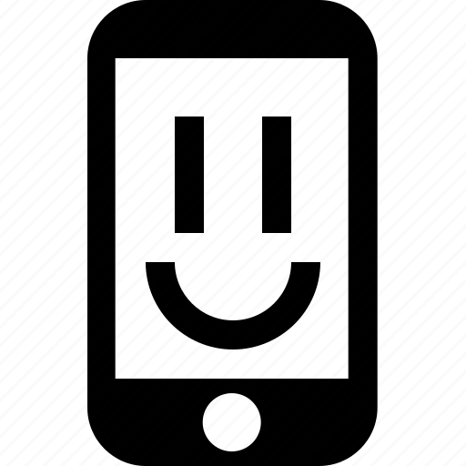 cell, chat, face, happy, phone, smile, telephone icon