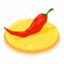 chili, chilli, cooking, isometric, object, pepper, red