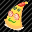 food, isometric, italian, object, pizza, salami, slice