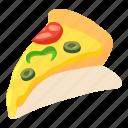 food, isometric, italian, object, pizza, slice, sliced