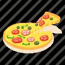 food, isometric, italian, object, pizza, slice, tomato