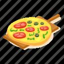 cheese, food, isometric, italian, object, pizza, slice