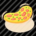 cooking, food, isometric, italian, object, pizza, slice