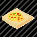 box, dinner, fast, food, isometric, object, pizza