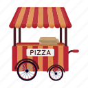 booth, kiosk, pizza, red, shopping, traveling, white