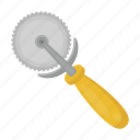 cut, cutter, equipment, pizza, roller, tool icon