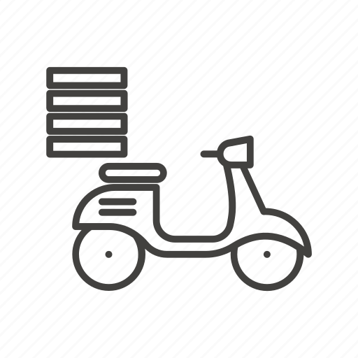 bike, delivery, fast, food, pizza, pizzeria, scooter icon