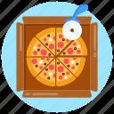 italian food, junk food, cutting pizza, pepperoni pizza, food