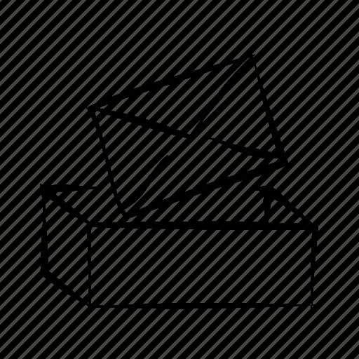 box, envelope, hand drawn, inbox, mail icon