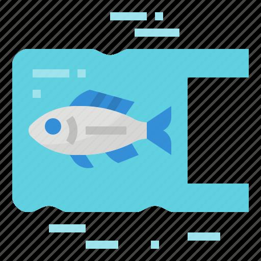 bag, fish, plastic, pollution icon