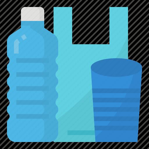 bag, bottle, cup, plastic icon