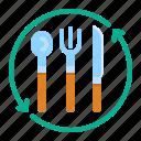 cutlery, dinner, fork, reus, spoon