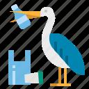contamination, garbage, pelican, plastic, waste