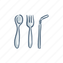 disposable, fork, plastic, pollution, spoon, trash, waste icon