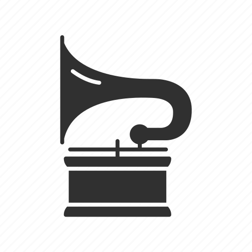 audio player, horn speaker, phonograph, record player icon