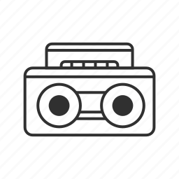 audio cassette, audio player, music player, radio, speakers, stereo, tape player icon