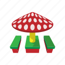 baby, benches, canopy, cartoon, child, mushroom, playground icon