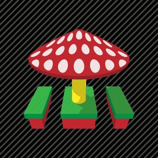 baby, benches, canopy, cartoon, child, mushroom, playground icon